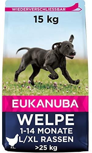 Eukanuba Welpenfutter mit frischem Huhn für große Rassen, Premium Trockenfutter für Welpen, 15 kg